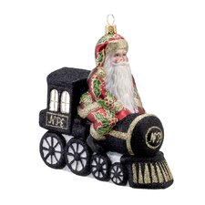 David Strand Glass North Pole Express Train Ornament