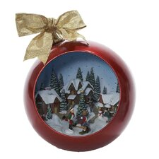 Fiber Optic Musical Ball with Christmas Scene Ornament