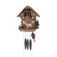 "13"" Chalet Cuckoo Clock with Wood Chopper and Children Figurines"