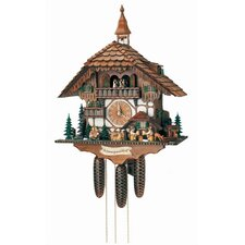 "23.5"" Black Forest Chalet with Moving Beer Drinkers, Waterwheel, Kissing Couple and Ringing Bell"