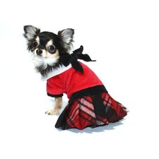 Plaid Dog Jumper with Skirt in Red