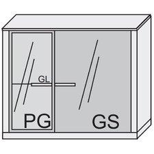"""Hängeelement """"Game"""" mit Glastür, Parsolglastür, Glasfachboden und Holzfachboden"""