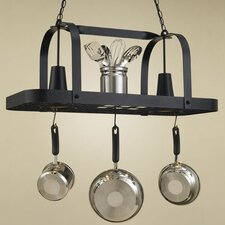 <strong>Hi-Lite</strong> Baker Rectangular Hanging Pot Rack with 2 Lights
