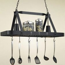 <strong>Hi-Lite</strong> Fleur de Lis Rectangular Hanging Pot Rack with 2 Lights