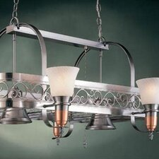Odysee Rectangular Hanging Pot Rack with 6 Lights