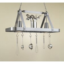 <strong>Hi-Lite</strong> Sterling Rectangular Hanging Pot Rack with 2 Lights