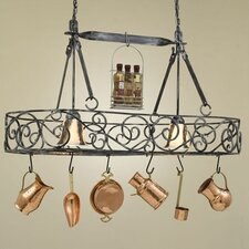 <strong>Hi-Lite</strong> Authentic Iron Oval Hanging Pot Rack with 2 Lights