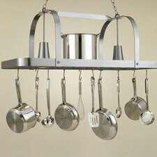 Baker Large Rectangular Pot Rack with 2 Lights