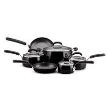 Porcelain Nonstick 10-Piece Cookware Set in Black