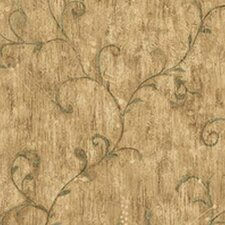 Lodge Décor Scroll Distressed Wallpaper