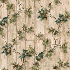Lodge Décor Pinecone Trail Floral Botanical Wallpaper