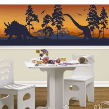 Dinosaur Silhouettes Mural Style Wallpaper Border