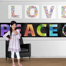 <strong>4 Walls</strong> Peace and Love Mural Style Wallpaper Border