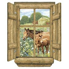 Unique Peel and Stick Log Window Horse Wall Decal