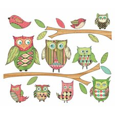 Owls Branches Pre-Pasted Accent Mural in Pink