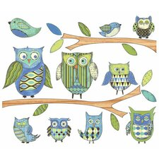 Owls Branches Peel and Stick Accent Mural in Blue