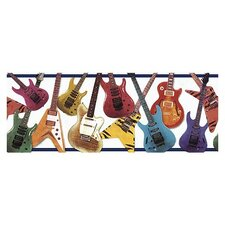 Whimisical Wall Guitar Border in Navy