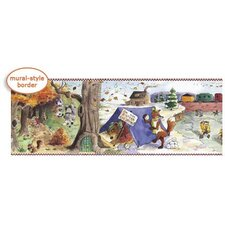 Panoramic Party Time Animals Mural Style Border in Multi