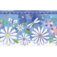 Whimsical Children's Vol. 1 Groovy Flower Die-Cut Border in Blue