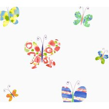 Whimsical Children's Vol. 1 Butterfly Toss Wallpaper in Green