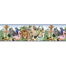Jungle Animals Free Style Border Wallpaper in Multi