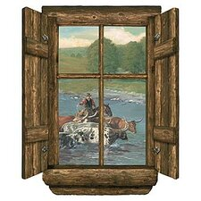 Log Window Cattle Drive Wall Decal