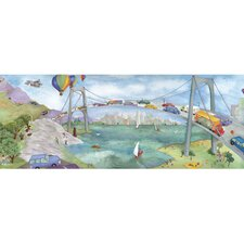 Watercolor Journey Mural Style Wallpaper Border