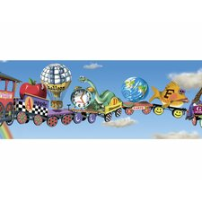 Alphabet Train Mural Style Wallpaper Border