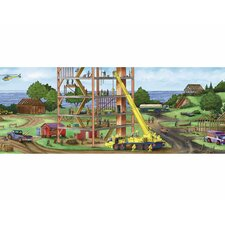 Construction Panorama Mural Style Wallpaper Border