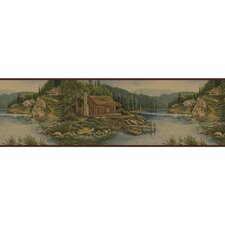 Lodge Décor Cabin Scenic Border Wallpaper