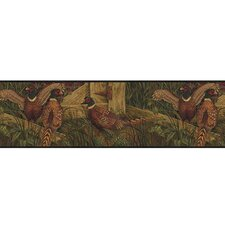 Lodge Décor Pheasant Border Wallpaper