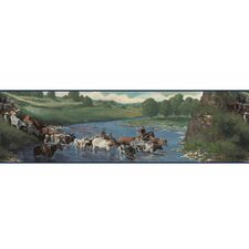 Lodge Décor The Cattle Drive Wildlife Border Wallpaper