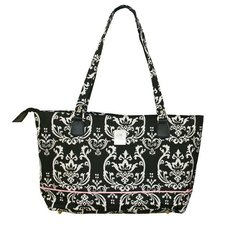 Damask Computer Tote Bag in Black Pink