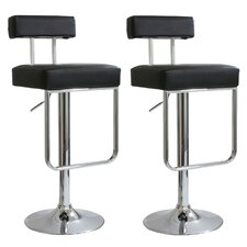 "AmeriHome 25"" Adjustable Swivel Bar Stool with Cushion (Set of 2)"