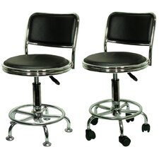 Height Adjustable Undersized Stool with Low Profile Backrest and Casters (Set of 2)