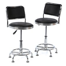 "AmeriHome 16.5"" Adjustable Swivel Bar Stool with Cushion (Set of 2)"