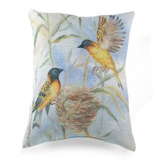 Lava Painted Bird and Nest Pillow