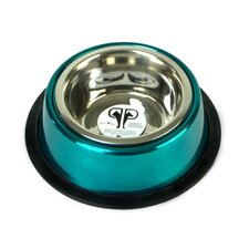 Two Piece Dog Bowl with Skid Stop in Teal