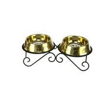 Double Diner Dog Stand with 2 Bowls in Gold