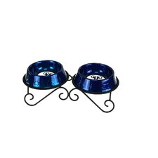 Double Diner Dog Stand with 2 Bowls in Blue