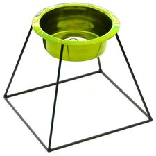 Pyramid Diner Stand with Rimmed Embossed Dog Bowl in Corona Lime