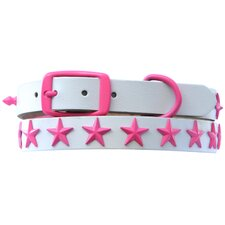 "15"" Genuine White Leather Dog Collar with Stars"