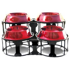 Deluxe Bone Double Diner Stand with Two Pet Bowl