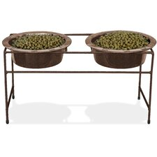 Modern Double Vein Diner Stand with Two Wide Rimmed Bowl