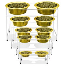 Modern Double Diner Stand with Two Wide Rimmed Bowl