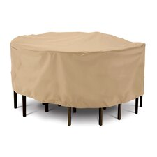 Terrazzo Collection Patio Table and Chair Set Cover in Tan, Medium Round