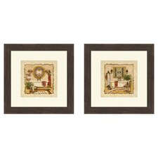 Bath Art Deco 2 Piece Framed Painting Print Set