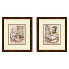Bath Sage 2 Piece Framed Painting Print Set