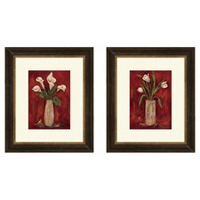 Floral Hot Callas Framed Painting Print (Set of 2)