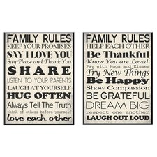Family Rules 2 Piece Framed Textual Art